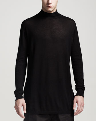 Oversized Cashmere Turtleneck Sweater, Black