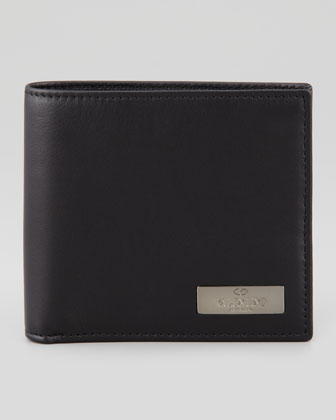 Leather Logo Wallet, Black
