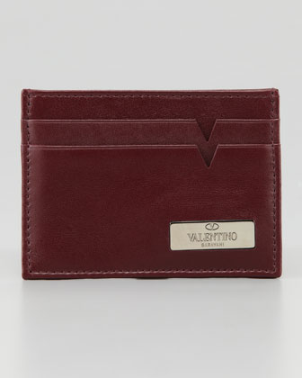 Leather Logo Card Case, Red