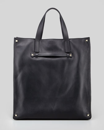 Stud-Corner Leather Tote Bag, Black