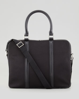 Zip-Top Canvas Briefcase, Black