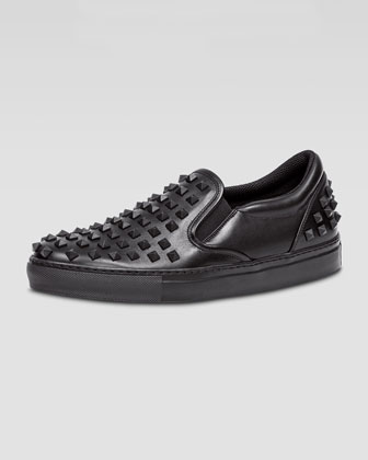Rockstud Men's Slip-On Sneaker, Black