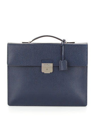 Revival Single-Gusset Briefcase, Blue