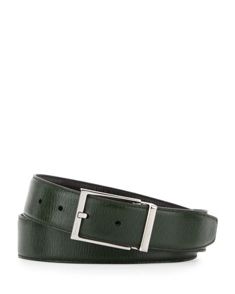 Reversible Revival Leather Belt, Green/Black