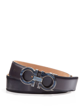 Men's Double-Gancini Belt with Mother-of-Pearl Buckle, Blue