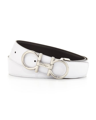 Reversible Double Gancini Belt, Black/White