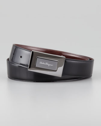 Reversible Plaque Belt, Black/Brown