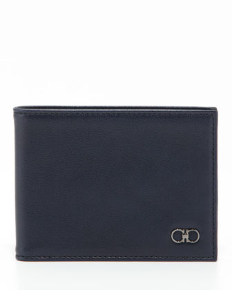 Crackle Bifold Wallet, Blue