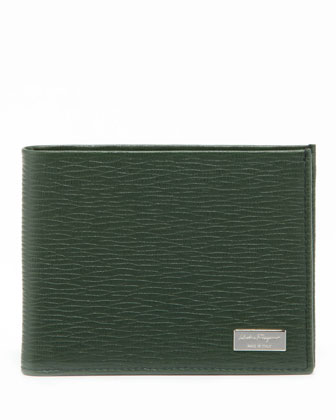 Revival Saffiano Leather Wallet, Green/Blue