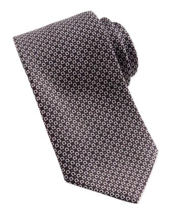Woven Gancini Silk Tie, Black
