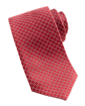 Woven Micro-Gancini Silk Tie, Red