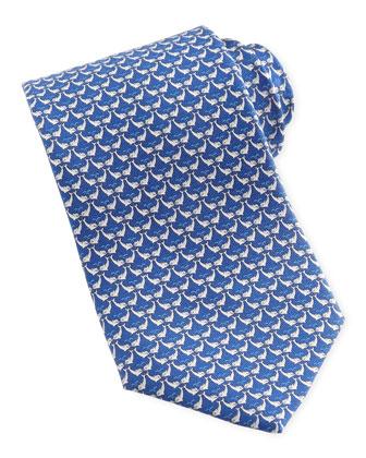 Dolphin-Print Silk Tie, Blue