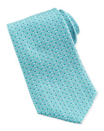 Duck-Print Silk Tie, Aqua
