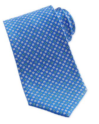Gancini & Flower Silk Tie, Blue