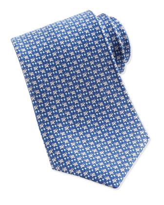 Elephant-Print Silk Tie, Blue