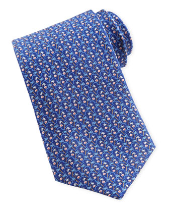 Palm Tree Tie, Blue