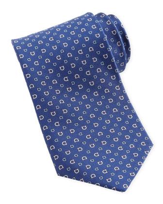 Gancini Silk Tie, Navy