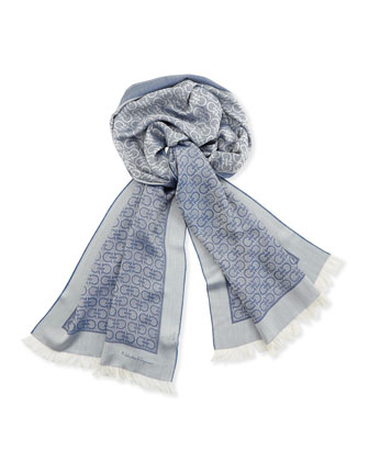 Men's Gancini Silk/Cotton Scarf, Blue