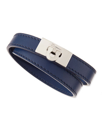 Men's Gancini Leather Wrap Bracelet, Blue