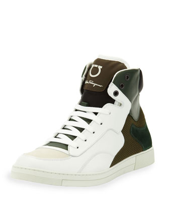 Robert Bicolor High-Top, White/Green