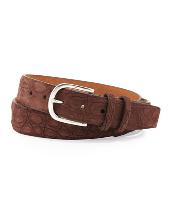 Sueded Crocodile Belt, Brown