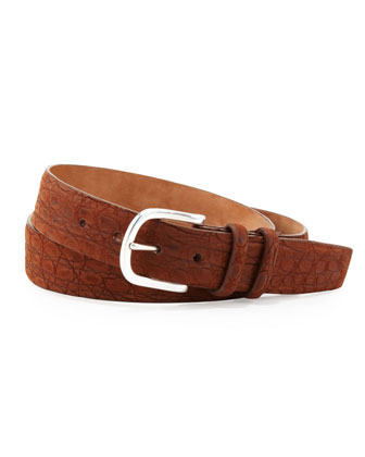 Sueded Crocodile Belt, Tan