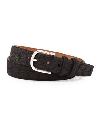 Sueded Crocodile Belt, Black