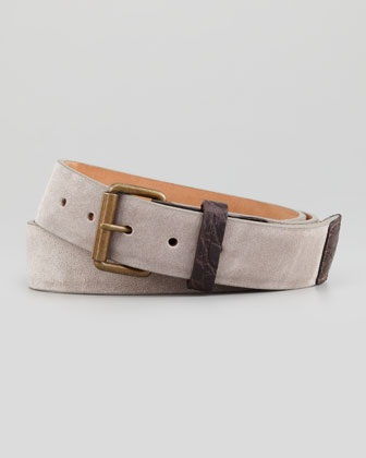 Suede Crocodile-Trim Belt, Gray