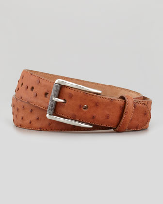 Ostrich Leather Belt, Cognac