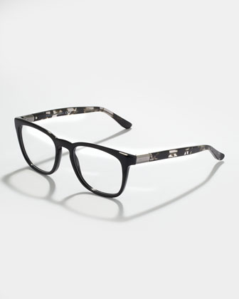Black Square Fashion Glasses, Gray Havana