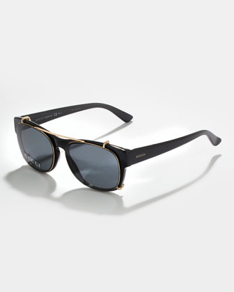 Acetate Fashion Glasses with Clip-On Sunglasses, Black/Gold