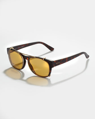 Matte Acetate Fashion Glasses with Clip-On Sunglasses, Brown Havana