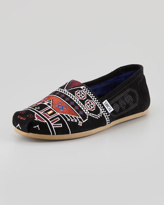 Embroidered Suede Slip-On, Black