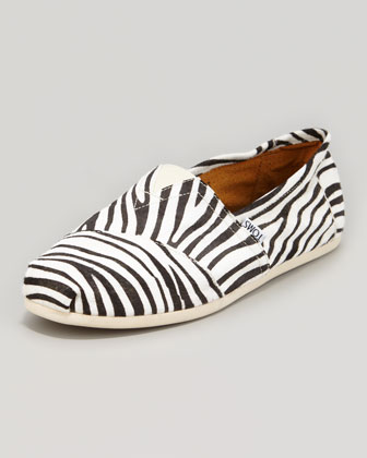 Zebra-Print Calf Hair Slipper, Black/White