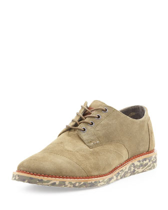 Suede Wingtip with Camo Sole, Green