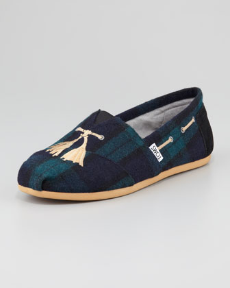 Faux-Tassel Plaid Slip-On, Green