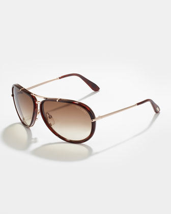 Cyrille Men's Aviator Sunglasses, Brown
