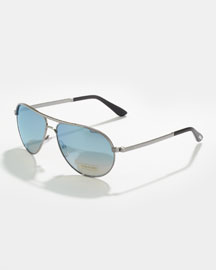 Marko Men's Aviator Sunglasses, Silver/Mirrored Blue