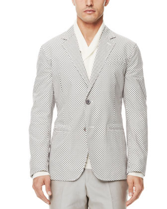 Mini-Skull-Print Blazer, Shawl-Collar Cashmere Sweater & Cotton Suit Trousers