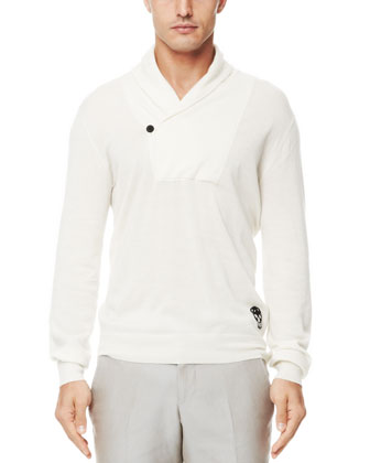 Shawl-Collar Cashmere Sweater, Off White