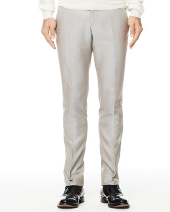 Cotton Suit Trousers, Gray
