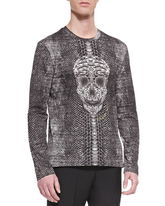 Skull/Snake Printed Shirt, Black/Gray