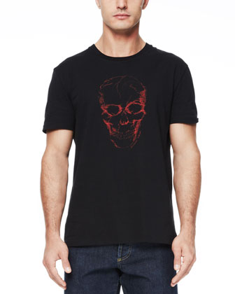 Short-Sleeve Skull Tee, Black