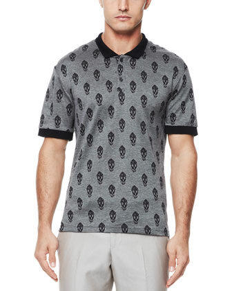 Allover Skull Short-Sleeve Polo, Black