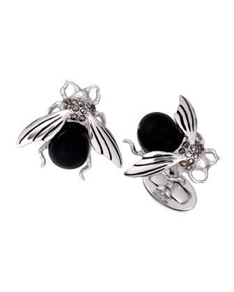 Onyx & Marcasite Fly Cuff Links