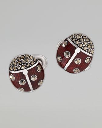 Silver Marcasite Ladybug Cufflinks