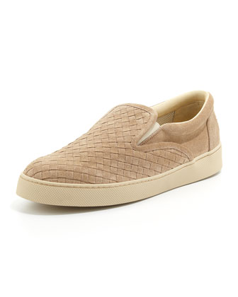 Men's Woven Suede Slip-On, Tan