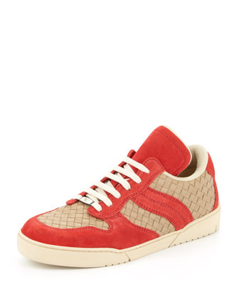 Woven Suede/Leather Low-Top Sneaker, Red
