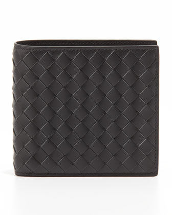 Woven Leather Wallet, Gray