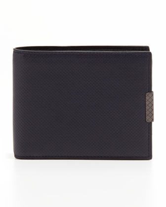 Polo Micro-Embossed Bi-Fold Wallet, Navy